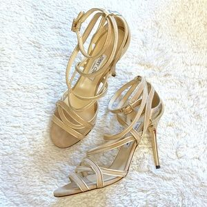 Jimmy Choo Strappy Nude and Gold Heels Size 39.5